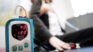 Cystic fibrosis patients often undergo respiratory physical therapy sessions,  during which blood oxygen saturation is controlled