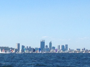 Spinnakers and a view of Perth